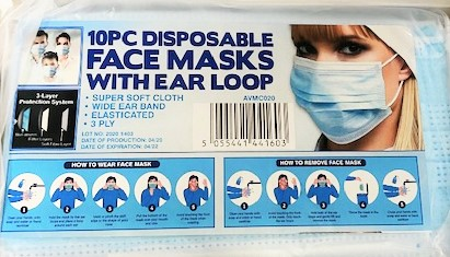 Pack of Ten 3ply Face Masks